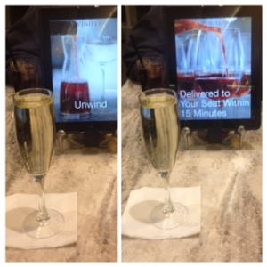 sparkling wine in the lounge at pearson airport toronto