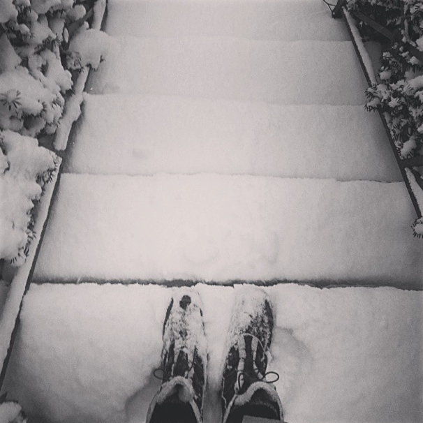 snowy stairs in Toronto, Ontario, Canada