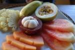 fresh fruit plate bali indonesia mangosteen guava pineapple watermelon banana mango